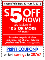 get $5 off any purchase of $25 or more with coupon